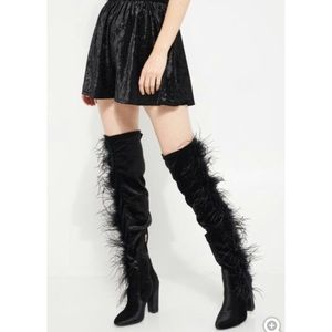 Black velvet over the knee feathered boots 7.5